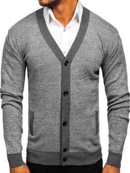 Мужской свитер на застежке серый Bolf 8122
