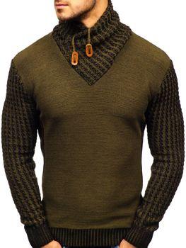 Мужской свитер с узором зеленый Bolf 2010