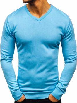 Мужской свитер с v-образным вырезом голубой Bolf 2200