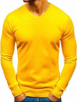 Мужской свитер с v-образным вырезом желтый Bolf 2200
