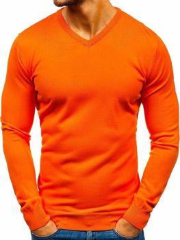 Мужской свитер с v-образным вырезом оранжевый Bolf 2200