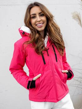 Розовая зимняя женская лыжная куртка Bolf HH012
