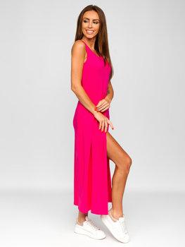 Розовое длинное женское платье Bolf 22129-1