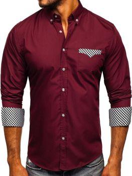 Рубашка мужская BOLF 4711 бордовая