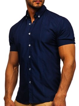 Рубашка мужская BOLF 5535 темно-синяя