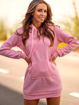Светло-розовая удлиненная женская толстовка с капюшоном BOLF YS10003