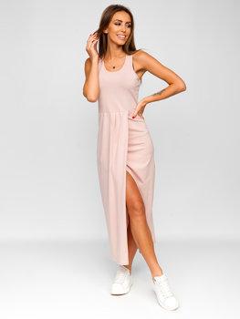 Светло-розовое длинное женское платье Bolf 22129-1