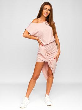 Светло-розовое длинное платье Bolf 8812