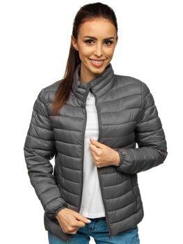 Серая женская стеганая демисезонная куртка Bolf 20311