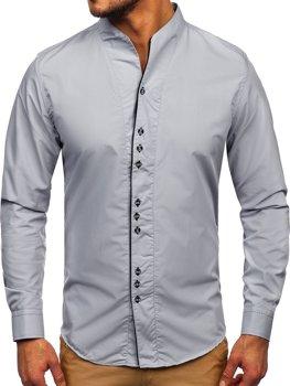 Серая мужская рубашка с длинным рукавом Bolf 5720