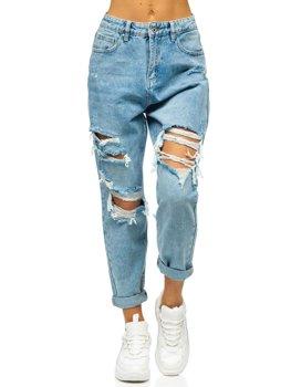 Синие женские джинсы mom fit Bolf WL1690