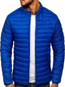Синяя стеганая демисезонная мужская куртка Bolf LY33