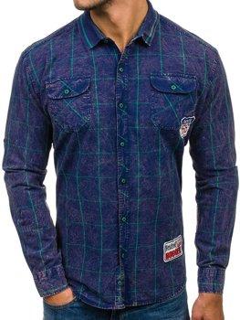 Темно-сине-зеленая мужская рубашка в клетку с длинным рукавом Bolf 2506
