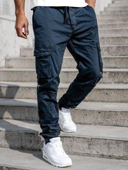 Темно-синие мужские брюки джоггеры-карго Bolf 8956