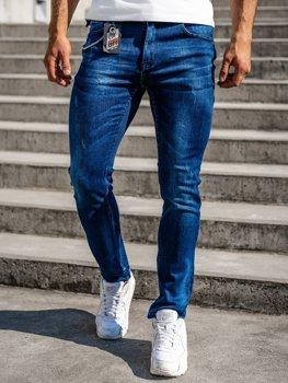 Темно-синие мужские джинсовые брюки regular fit с поясом Bolf 80029W0