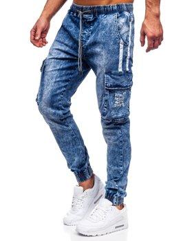 Темно-синие мужские джинсовые джоггеры-карго Bolf TF053