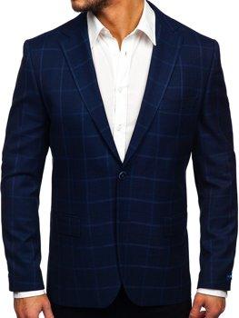 Темно-синий клетчатый мужской пиджак кэжуал Bolf S2002