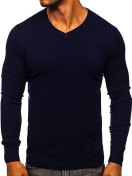 Темно-синий мужской свитер с V-образным вырезом Bolf YY03