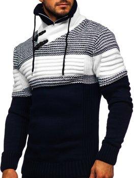 Темно-синий мужской свитер толстой вязки с воротником-стойкой Bolf 2002