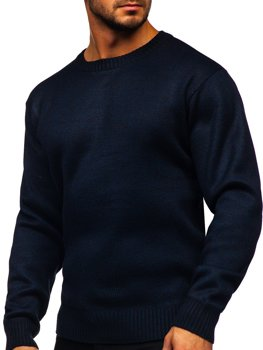 Темно-синий утепленный мужской свитер Bolf 7M117