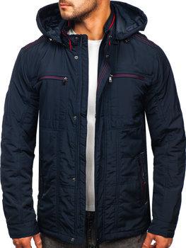 Темно-синяя демисезонная мужская куртка с капюшоном Bolf bk026