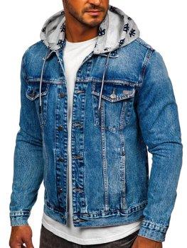 Темно-синяя джинсовая куртка с капюшоном Bolf RB9879-1