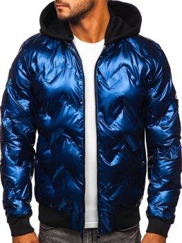 Темно-синяя зимняя мужская куртка-бомбер с капюшоном Bolf 6590