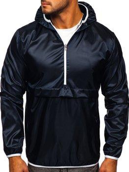 Темно-синяя мужская демисезонная спортивная куртка с капюшоном BOLF 5061
