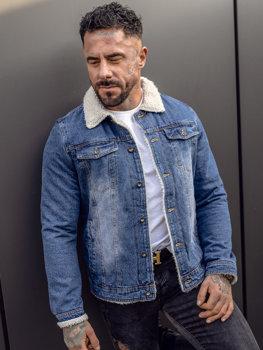 Темно-синяя мужская джинсовая демисезонная куртка Bolf 1153