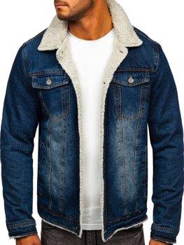 Темно-синяя мужская джинсовая демисезонная куртка Bolf 1155