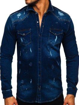 Темно-синяя мужская джинсовая рубашка с длинным рукавом Bolf R801