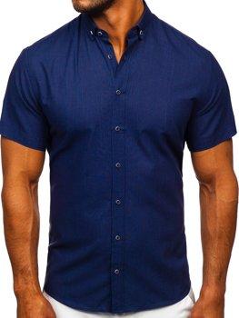 Темно-синяя мужская рубашка с коротким рукавом Bolf 20501