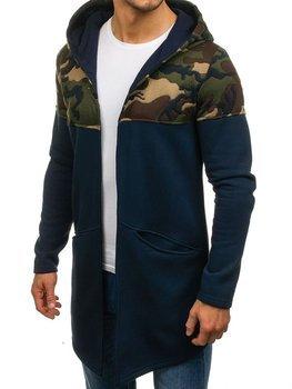 Темно-синяя мужская толстовка с капюшоном Bolf 9117