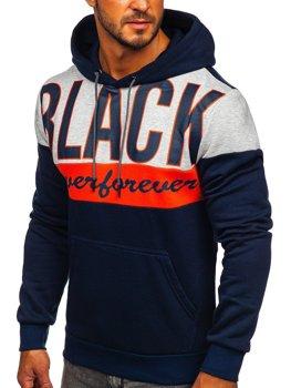 Темно-синяя мужская толстовка с капюшоном Bolf KS2120
