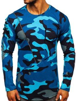 Темно-синяя мужская футболка с длинным рукавом с принтом камуфляж Bolf 1090