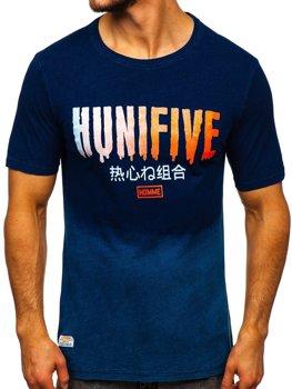 Темно-синяя мужская футболка с принтом Bolf HFM016
