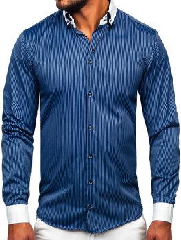 29adfbb3a7e Мужская элегантная рубашка в полоску с длинным рукавом темно-синяя Bolf  0909-A