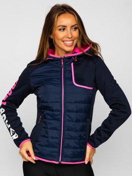 Темно-синяя стеганая женская демисезонная куртка с капюшоном Bolf KSW4008