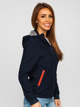 Темно-синяя стеганая женская демисезонная куртка Bolf HM097