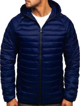 Темно-синяя стеганая мужская куртка Bolf 13021