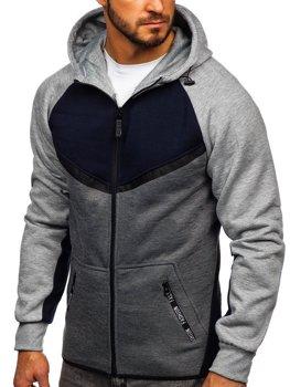 Толстовка мужская с капюшоном темно-синяя Bolf 80688