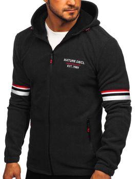 Толстовка мужская флисовая с капюшоном черная Bolf YL001