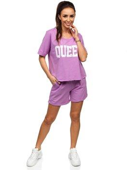 Фиолетовый женский спортивный комплект Bolf 7505