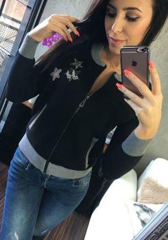 Черная женская демисезонная куртка Bolf 554