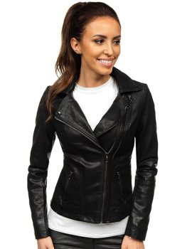 Черная женская кожаная куртка-косуха Bolf 2051