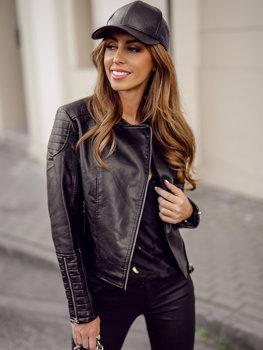 Черная женская кожаная куртка косуха Bolf BF5935502