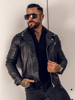 Черная кожаная куртка мужская Bolf 0006