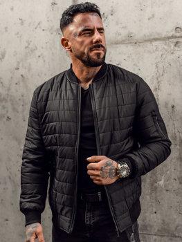 Черная мужская демисезонная стеганая куртка-бомбер Bolf MY-02