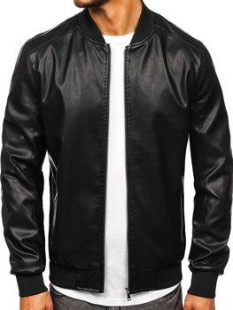 Черная мужская кожаная куртка-бомбер Bolf 1147