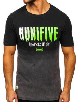 Черная мужская футболка с принтом Bolf HFM016